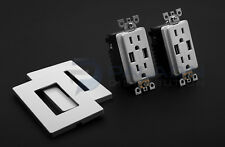 (2 Pack) High Speed 4A USB Charging TR Outlet Receptacle UL Listed - White 15A
