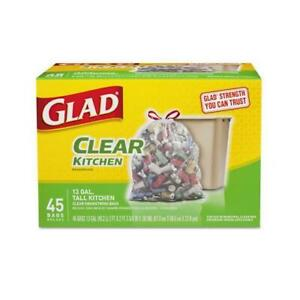 Glad Recycling Kitchen Drawstring Trash Bags 13 Gallon Clear (180 Bags) 78543