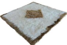 Exklusiv Island Lammfell Teppich weiß braun 180 cm x 180 cm Fellteppich lambskin
