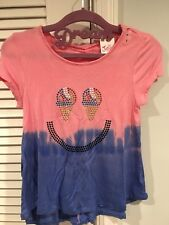 NWT JUSTICE GIRLS 7 STUDDED SWINGY TEE ICE CREAM SMILEY PINK SILKY SOFT BLUE