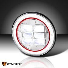 1x Round Cree Halo LED Projector Headlight Red Rim Strip Jeep Wrangler Bike