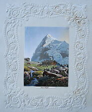 Eiger Nordwand Alpen Bergsteiger  Schweiz  alte altkolorierte Aquatinta 1840