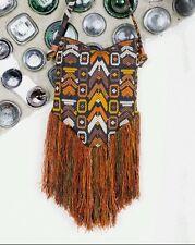 Altiplano Bag with Fringe Crossbody Hand Made Embroidered Brocade Corte BOHO