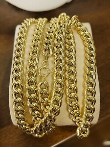 """18K Fine 750 Saudi Gold Mens Cuban Chain Necklace With 24"""" Long 7mm 14.05g"""