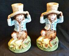 Petite Choses Chicago Vintage Pair 2 Monkey Top Hat Candlesticks Porcelain