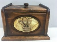 "Vtg Wooden Recipe Box Resin Tools on Front Brown Lift Lid 4.5x7x5"" Kitchen"