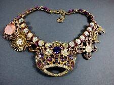 Betsey Johnson Purple Aurora Borealis Crystal Jewels Crown Tiara Mirror Necklace