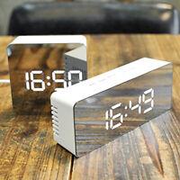 Mirror LED Snooze Alarm Clock Night Light Thermometer Digital Clock W/ USB