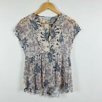Forever New Womens Blouse Size 6 Short Sleeve Floral Pattern Multicoloured