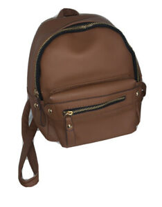 small brown leather backpack