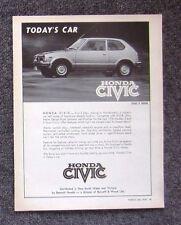 HONDA CIVIC HATCH 1976 Vintage Automotive Car Magazine Page Sales Advertisement