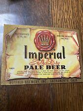 1949 Beer Label Buffalo Imperial Sacramento Ca Gold Trim