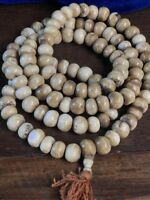 China Antique Tibet Yak Bone 12mm 108 Beads Bracelet Necklace  S127