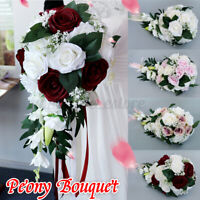 Artificial Rose Fake Flower Bouquet Bridesmaid Wedding Flowers Home Decor