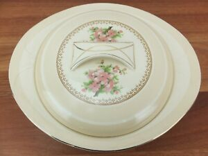 Vintage BURLEIGH WARE Burgess & Leigh Balmoral Pink Flower Covered Serving Dish