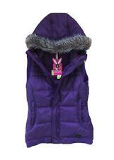 Burton DryRide Girls Purple Hooded Vest Xs Ski Snowboard Casual Faux Fur Trim