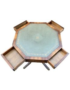 Lovely Revolving Green Leather Topped Octagonal Side End Lamp Table With Drawers