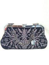 GUCCI Black Suede Leather, Silver Metallic Embroidered Handbag, Evening Bag