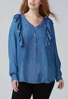 Womens Plus Size 2X 3X 18/20,22/24 COTTON Long Sleeve Denim Button Up Shirt Top