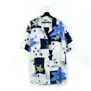 90s Yessica vintage floral shirt golden buttons blouse collared statement M L