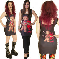 VOODOO DOLL LONG VEST MINI DRESS SLEEVELESS TOP GOTH punk gothic ALTERNATIVE