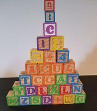 30 Wooden Alphabet Blocks Letter Wood Baby Learning Vintage ABC Kids