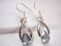 Faceted Blue Topaz Infinity 925 Sterling Silver Dangle Earrings Corona Sun