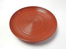 Japanese antique vintage Zohiko vermilion lacquer wood round plate chacha