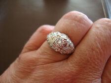 ANTIQUE 18K 750 SOLID WHITE GOLD VS1 DIAMONDS RING 4.6 GRAMS SIZE 6.5