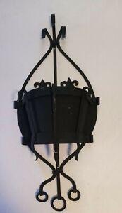 "Wrought Iron Wall Hanging Basket Planter Vintage decor 25"" x 10"" gothic midevil"
