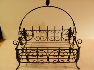 Metal Decorative handled basket. Looks Rustic. NICE, Dark Brown.
