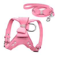 Bling Rhinestone Dog Harness & Leash Soft Suede for Small Dog Puppy Chihuahua