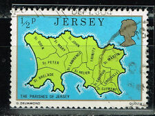 Jersey Island detailed map stamp 1965
