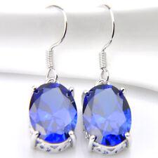 Water Drop Shaped Titanic Ocean Blue Topaz Gems Silver Dangle Wedding Earrings