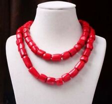 "Charm Red Cylinder Coral Bead Long Necklace Gemstones Woman Jewelry 35"" PN607"