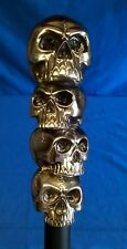 MACABRE FOUR SKULLS HANDLED WALKING STICK OR CANE WITH CELTIC DESIGN FERRULE