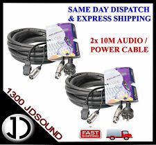 2x 10m Signal Audio 3pin XLR / Power Mains Cables for Powered Speaker