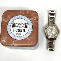 Women's FOSSIL Chronograph Watch 10 ATM Rhinestones With Tin Needs Battery
