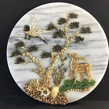 Vintage Chinese Round White Marble Natural Sea Shell Art Picture Deer Bird Tree