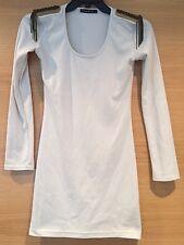 Size 8 White Cream Mini Dress Long Sleeve Gold Shoulder Detail Fringe Chain