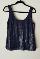 ALANNAH HILL SEQUIN EMBELLISHED TANK Cami Top SIZE 16 RRP$229 Silk Camisole