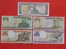 DOMINICAN LOW No  ( 1994-2000 ) 2X50 ,100,20,10 PESOS RARE BANK NOTES,GEM UNC