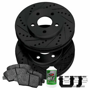 For 2008-2014 Smart Fortwo Front Black Drill Slot Brake Rotors+Ceramic Brake Pad
