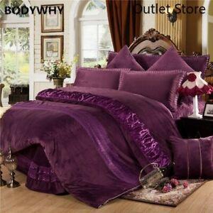 Winter Warm Thick Fleece Bedclothes Bedding Set 4/6Pcs Duvet Cover Bed Spread