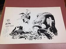 Rump Roast, Matt Haley Signed Print Dinosaur and Fighter 1995 17 by 11