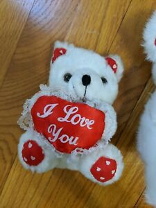 """""""I Love you""""_ Teddy Bear Plush_White and red plush ~5in"""