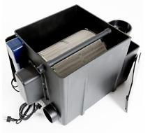 Mechanical drum filter for Koi ponds from Kings Lynn Koi. Built in 40w U.V light