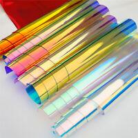 Transparent PVC Iridescent Magic Mirror Multicolor Fabric Vinyl Holographic