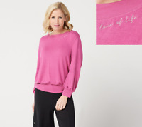 Peace Love World Balloon Sleeve Comfy Top, Amore Pink, XS