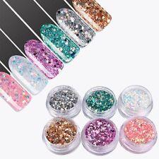 6 x Pot Glitter Set For Nail Art Decoration Design, Fine & Coarse Mix, UK Seller